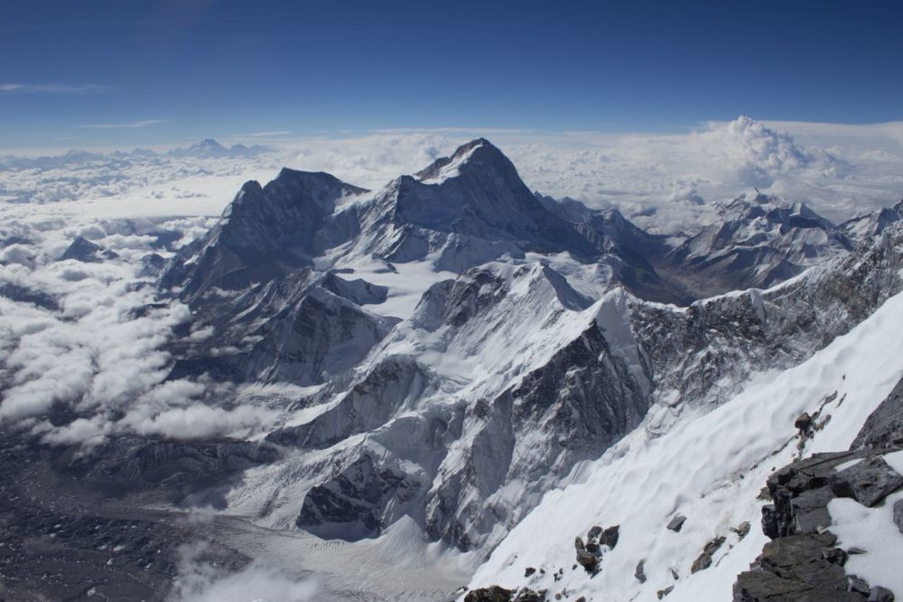 The view from the top of Mt Everest over the nearest mountains and valleys