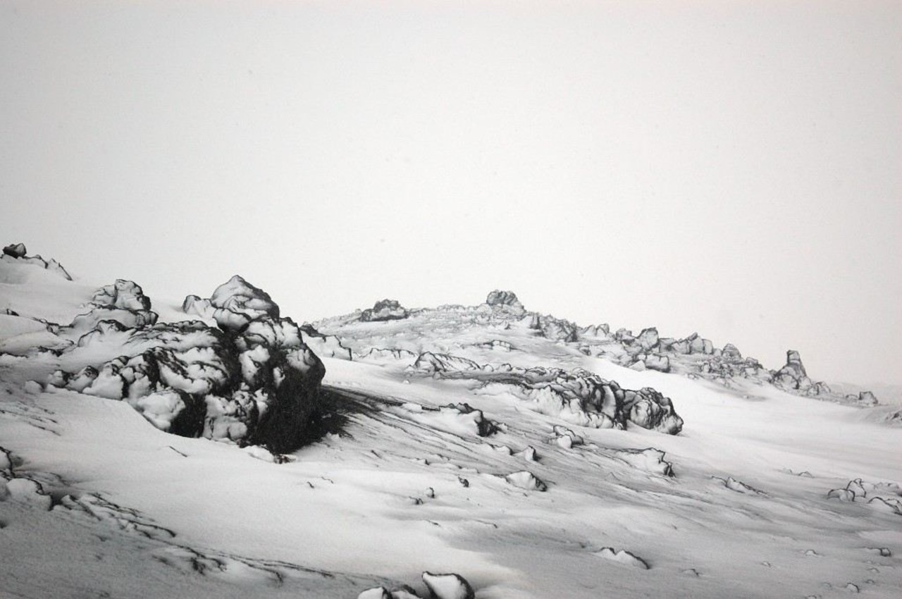 Volcanic rock covered in snow in Landmannalaugar