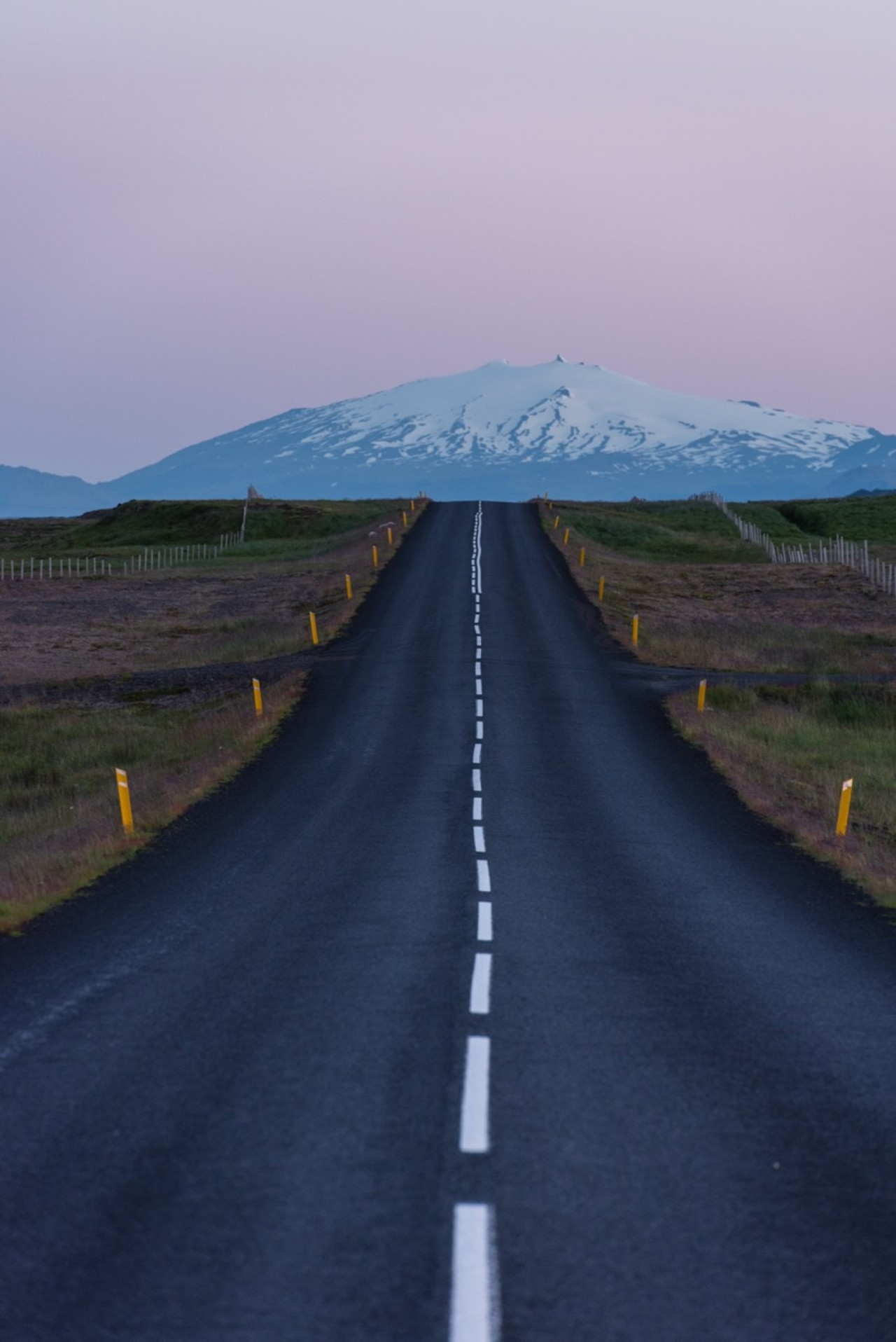 Ring road in Iceland near Vantajökull National Park seen on a summers evening.