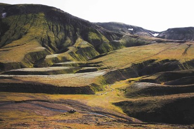 A green hill in the Icelandic Highlights