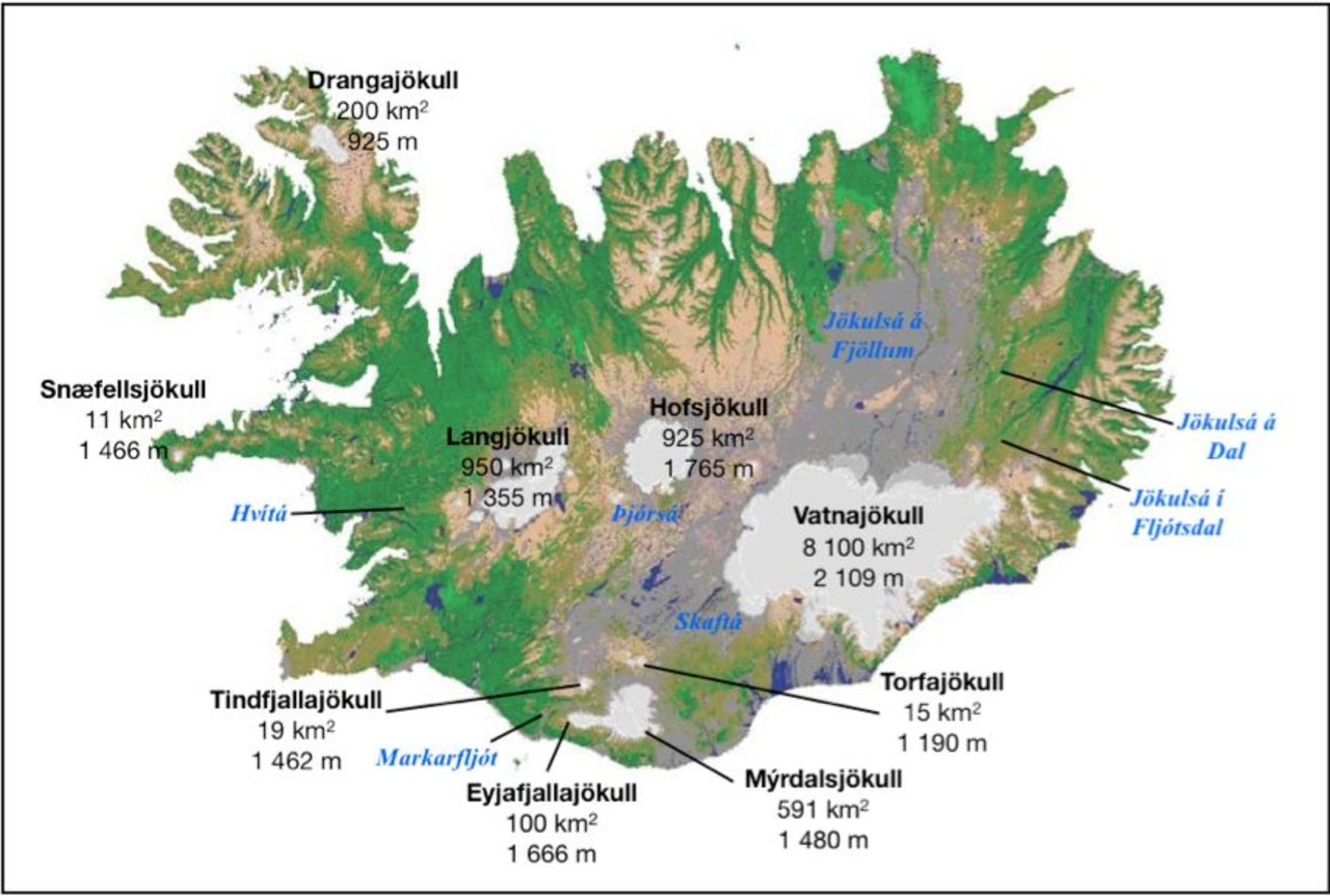 Map of Iceland showing glaciers and glacier rivers