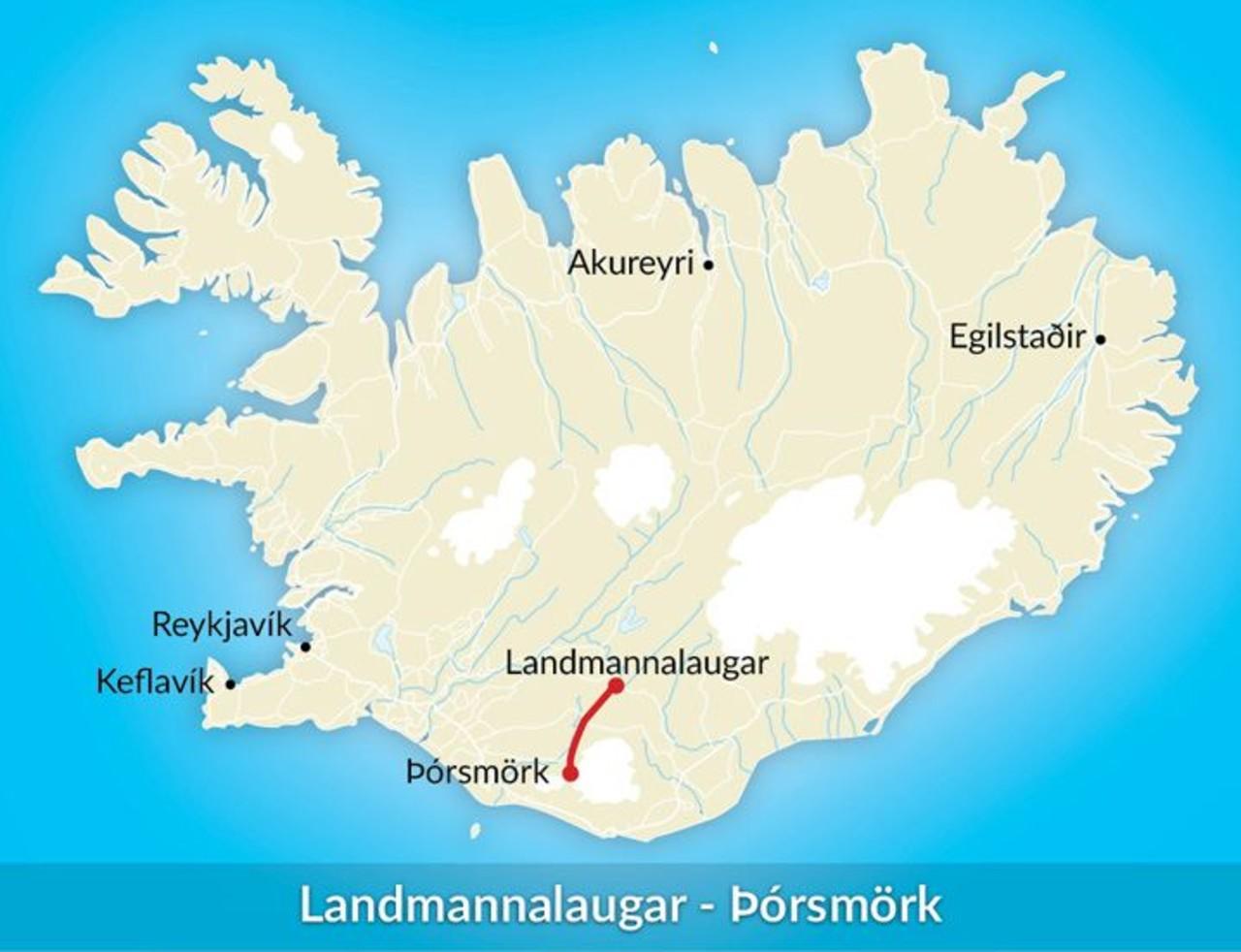 A map of Iceland showing the hike from Landmannalaugar to Þórsmörk
