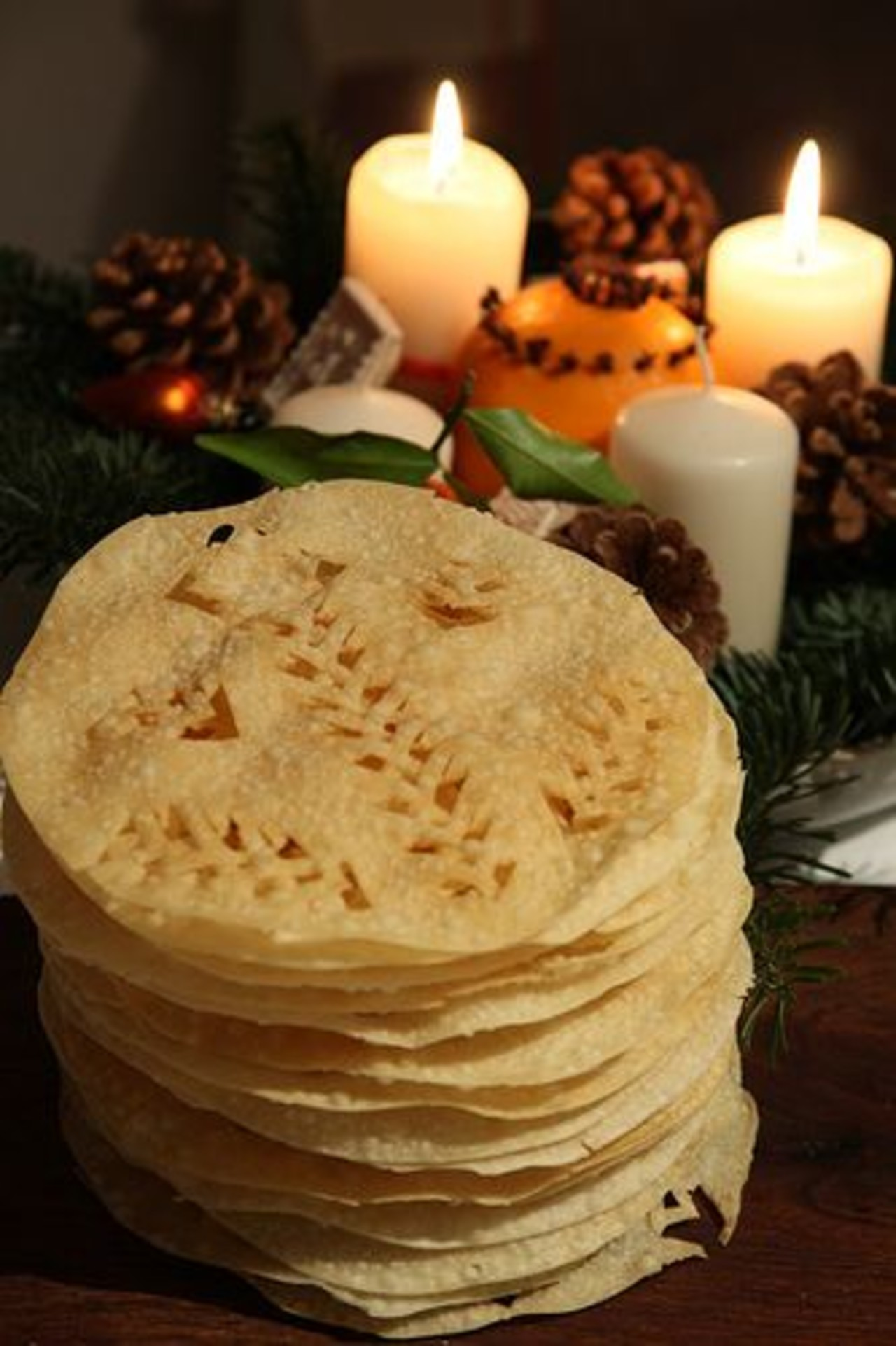 Icelandic Christmas bread bread set on a table with candles in the background