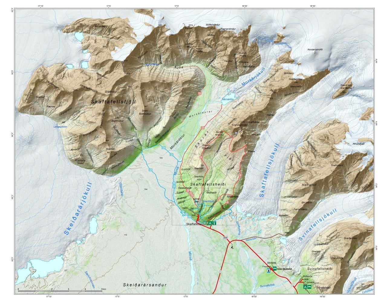Map of Skaftafell