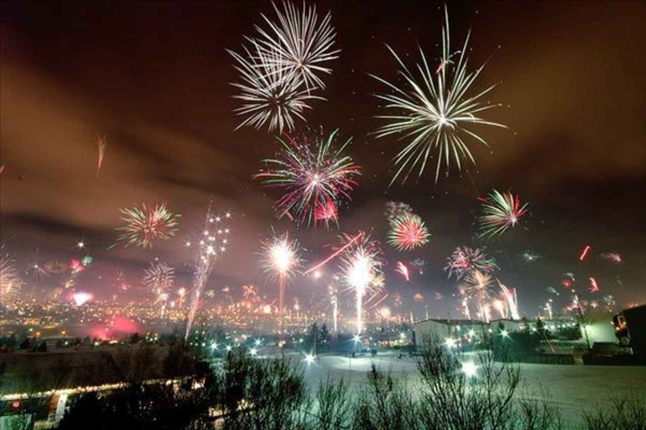 Fire works going off over Reykjavík on New Years Eve