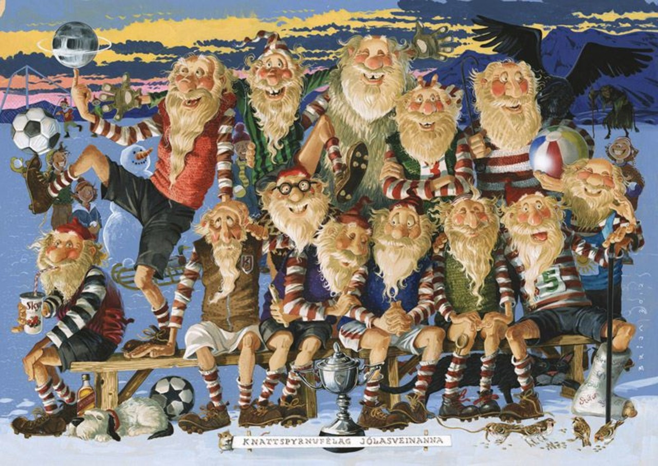 All the 13 funny Iceland´s Yule lads standing and sitting together with a funny faces on