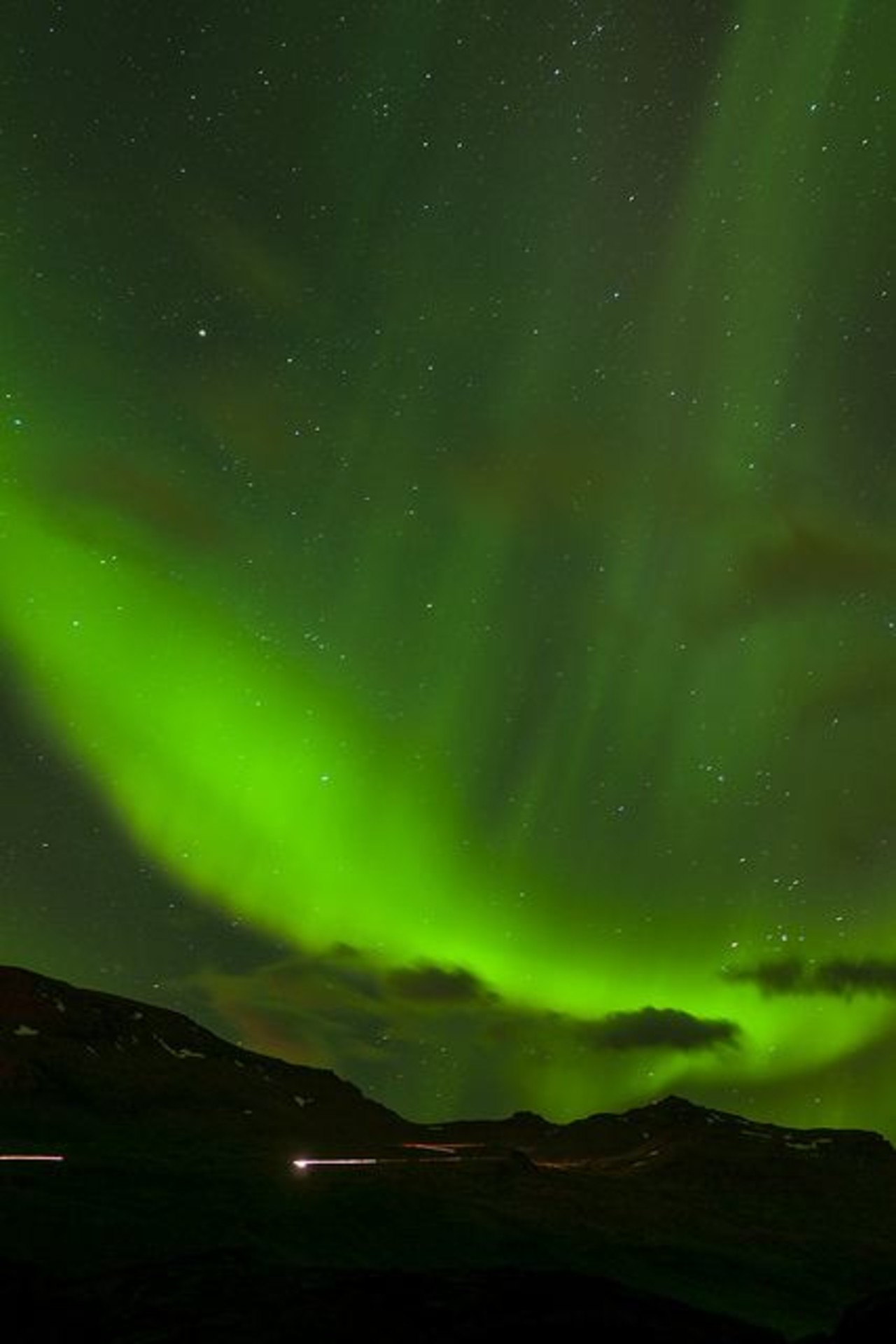 Bright green northern lights in Iceland