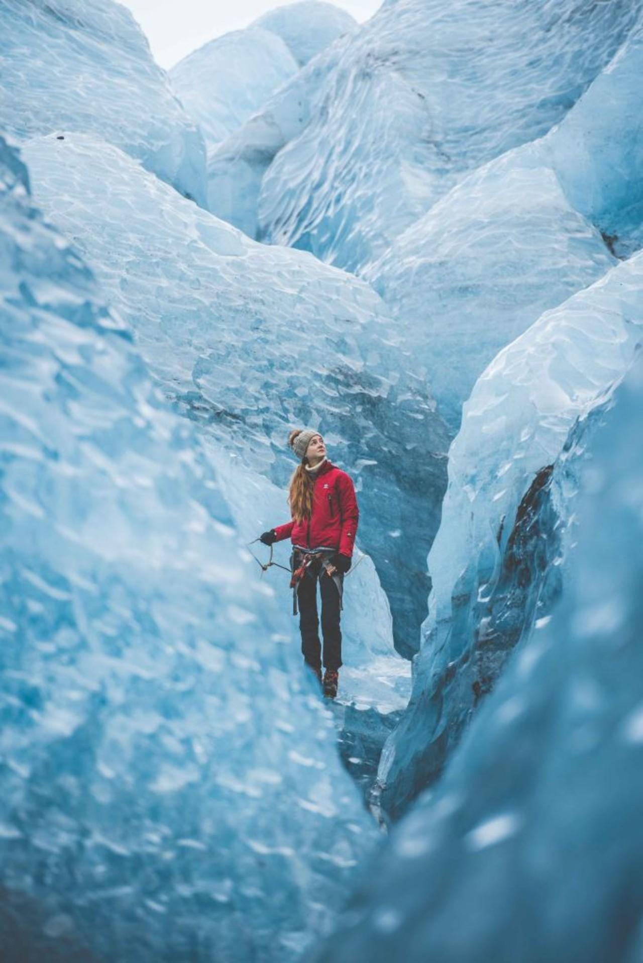 Woman on glacier