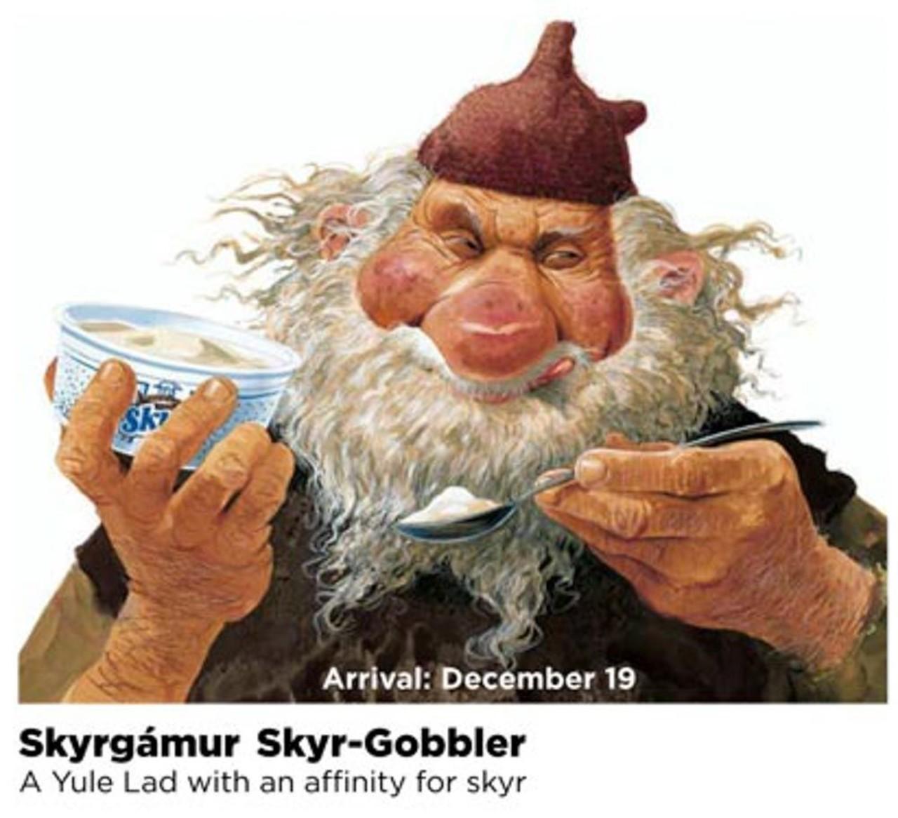Happy Skyrgámur (Skyr-gobbler) he is on of the 13th Icelandic Yule lads eating a skyr