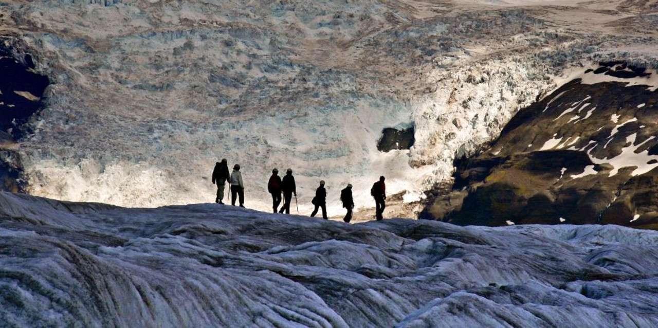 A group of people on a Glacier Walk on Svínafellsjökull glacier in Skaftafell with Icelandic Mountain Guides