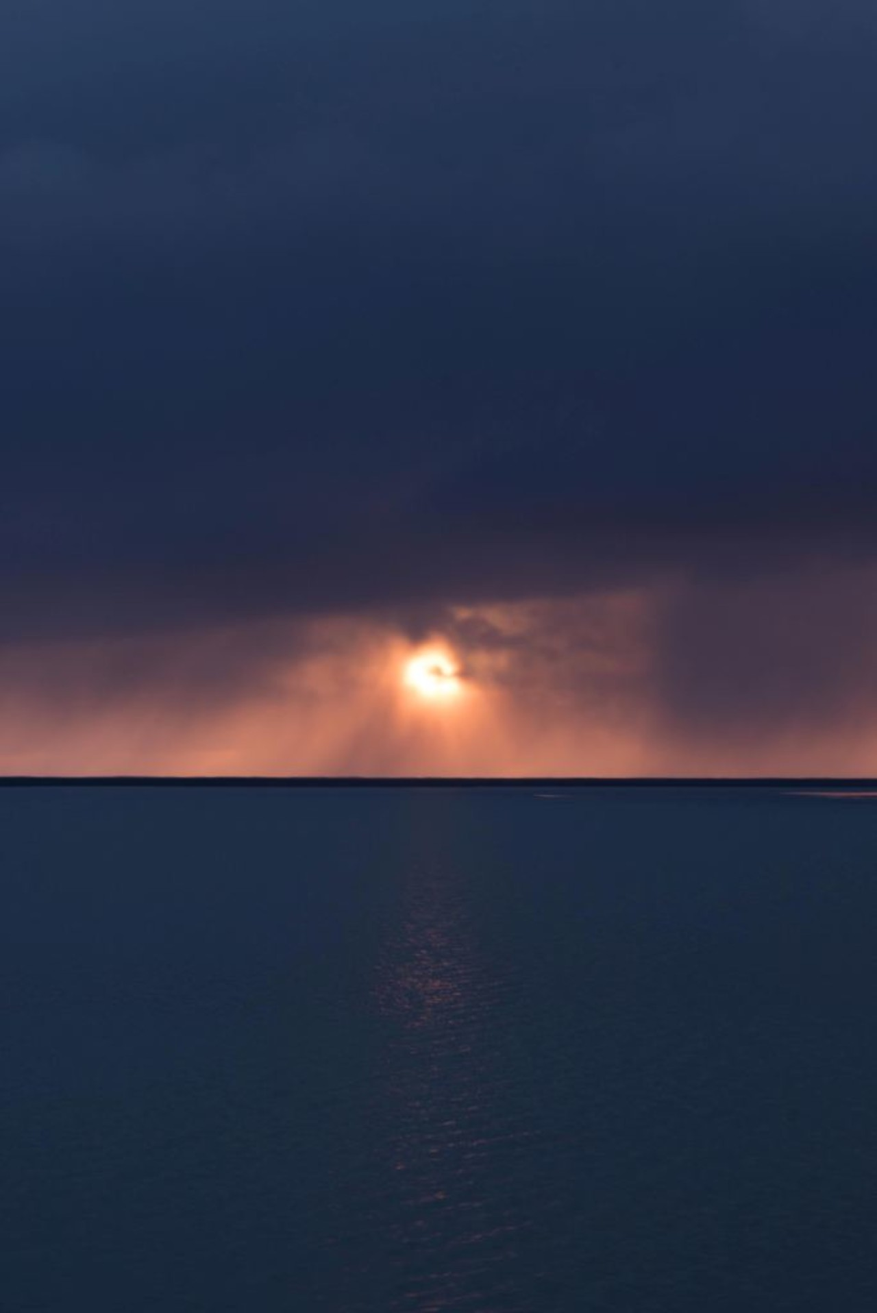 Midnight sun in Iceland on a fogy day