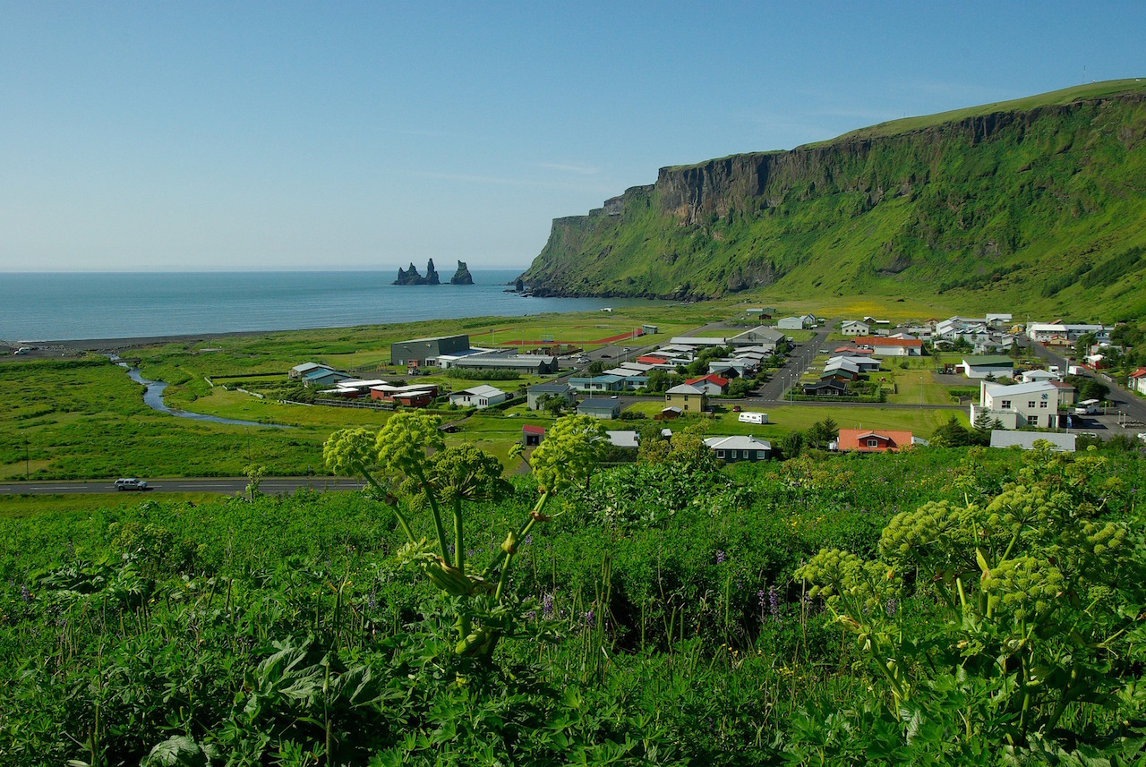 Small town of Vík along the South coast of Iceland in the summer