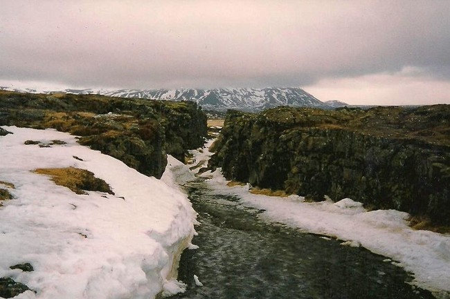 Snowy canyon on an fogy day in Iceland