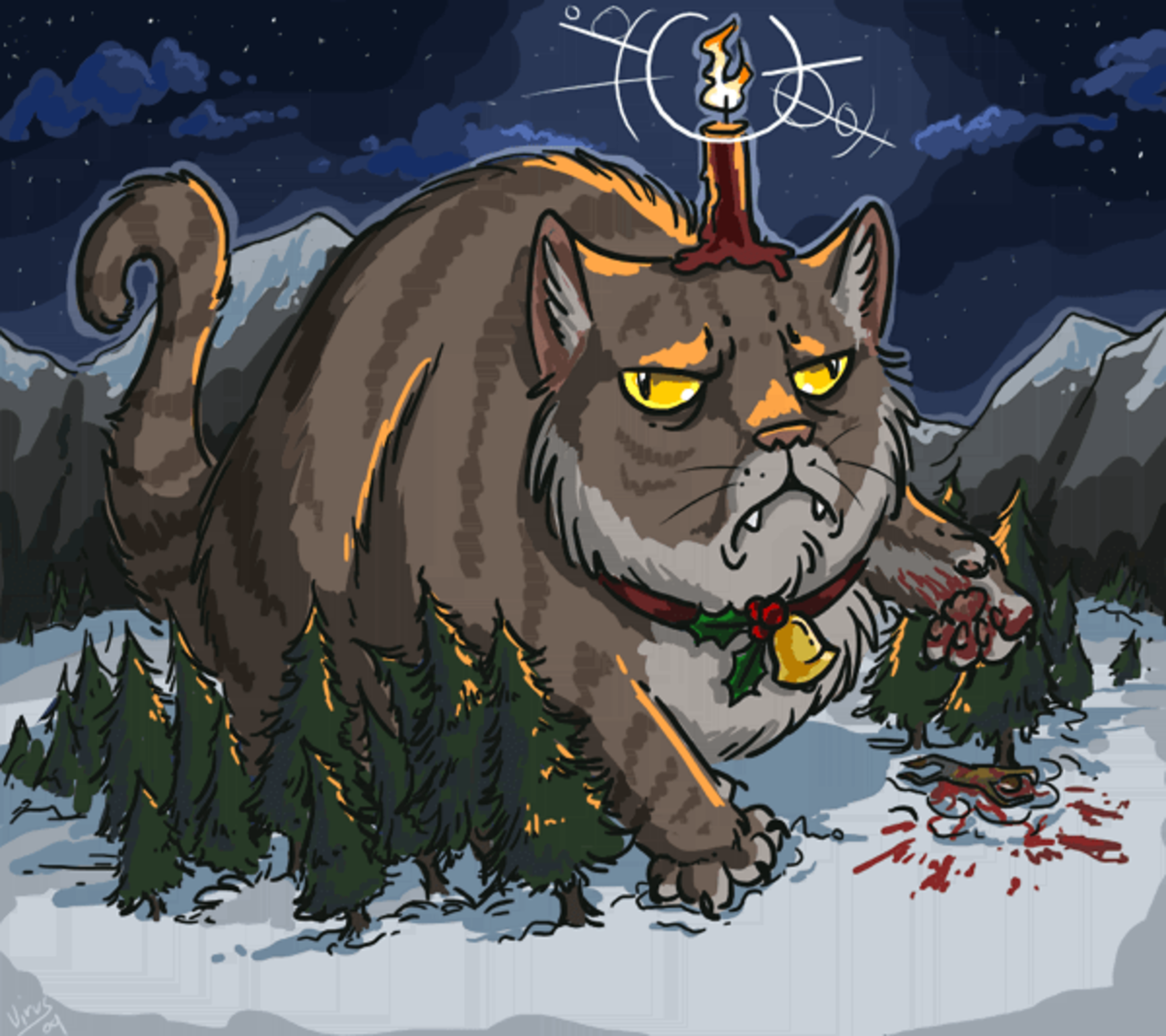 A funny drawing of the scary huge Icelandic Yule Cat stepping on some trees