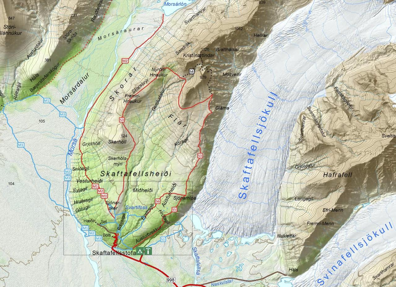 Close up of Skaftafell map