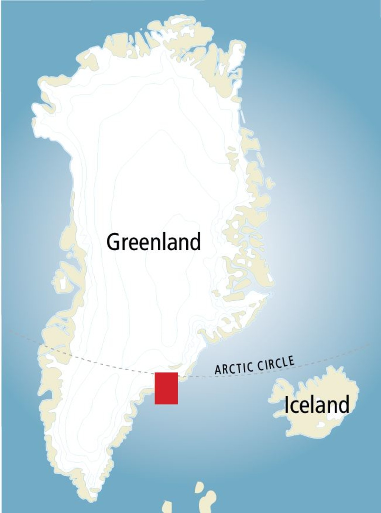 A map of Greenland showing where the Arctic Circle  crosses the country