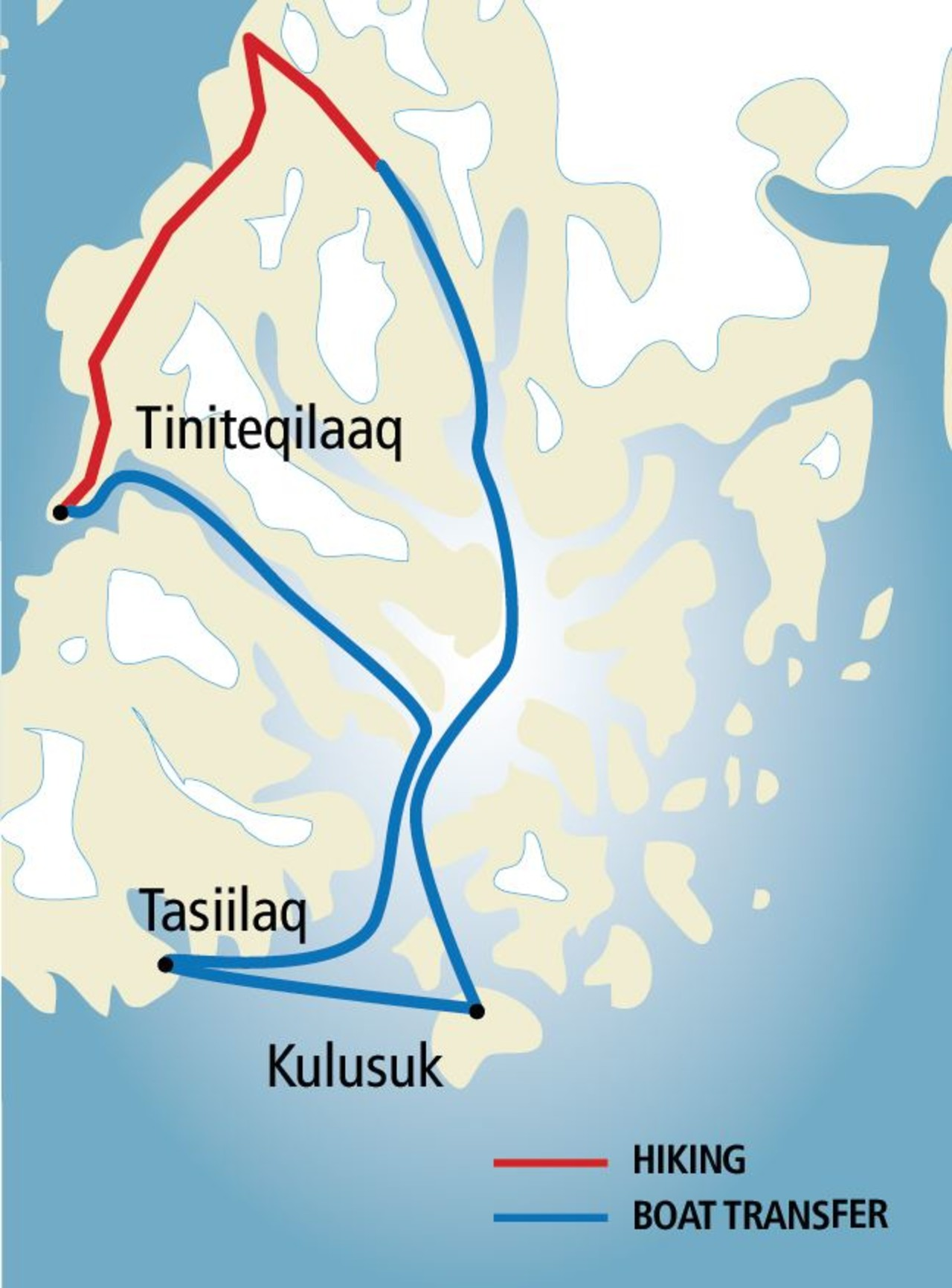 A map of a part of East Greenland showing the route from Kulusuk to Tiniteqilaaq and Tasiilaq