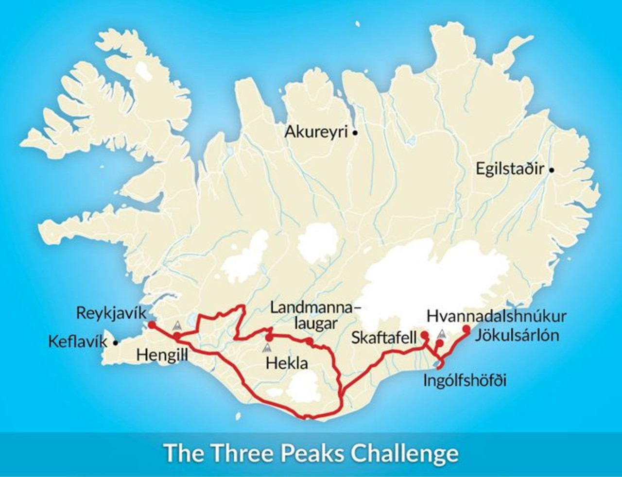 Map of Iceland showing the route the tour Three Peaks Challenge takes.