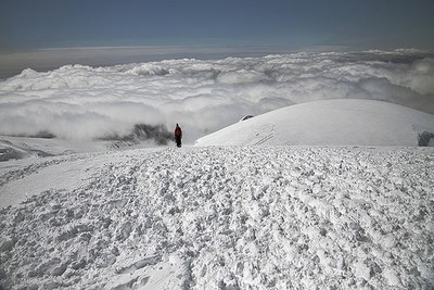A man hiking up to Hvannadalshnjúkur in Vatnajökull glacier on a tour with Icelandic Mountain Guides