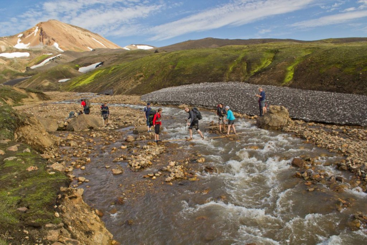 People river crossing on the Laugavegur trail